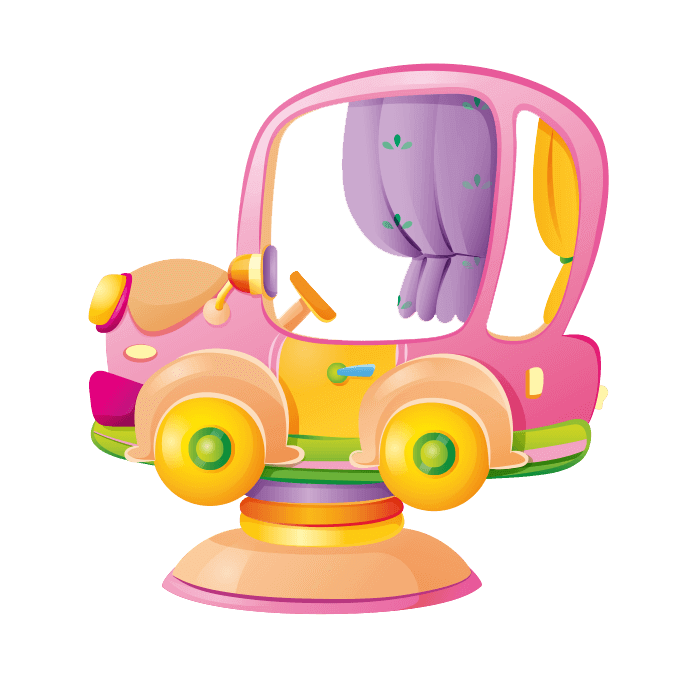 All at the Park Wall Decors for Children, Pink Toy Car Sticker